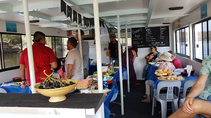 Lots of good food and great company during a Birthday Party held on a Shoalhaven River Cruise