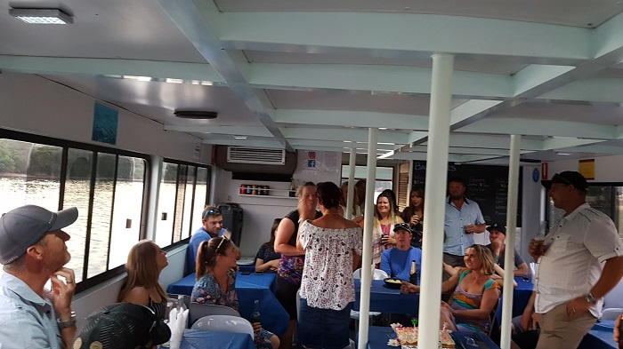 Family and friends gathered to help Katrina celebrate her 40th birthday onboard a Shoalhaven River Cruise