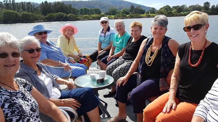 A great group of Golfing women helping Mary celebrate her 90th birthday onboard with Shoalhaven River Cruise