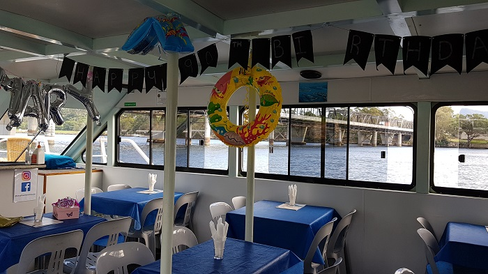 All set up and ready to party for Mary's Birthday Cruise onboard with Shoalhaven River Cruise
