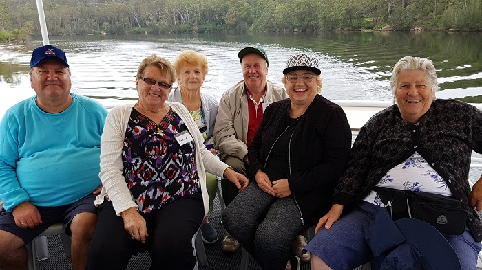 Smiles all around from these passengers enjoying a Shoalhaven River Cruise