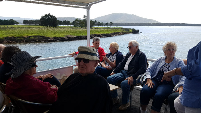 Some passengers having a great catch up during a Shoalhaven River Cruise