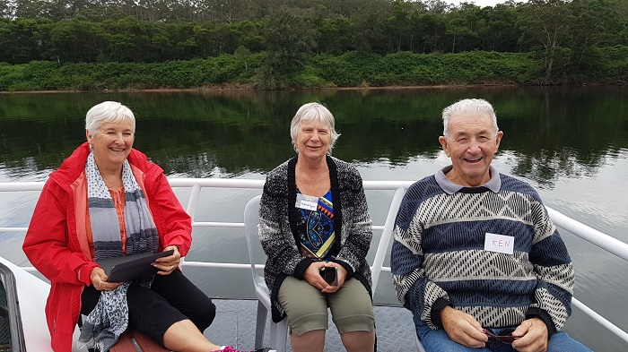 Some passengers enjoying the uninterrupted view from the Bow of the Shoalhaven Explorer during a Shoalhaven River Cruise